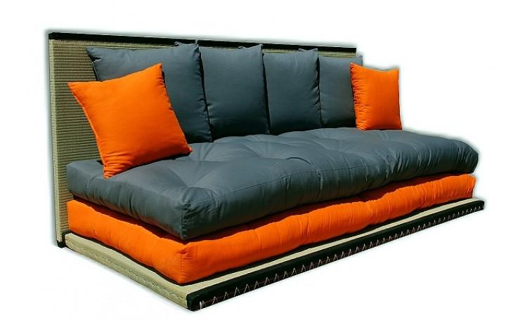 Futon tatami sofabett inkl futon und 6 kissen for Futon e tatami