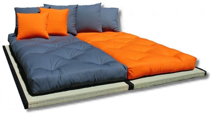 Futon tatami sofabett inkl futon und 6 kissen for Sofabett 140x200