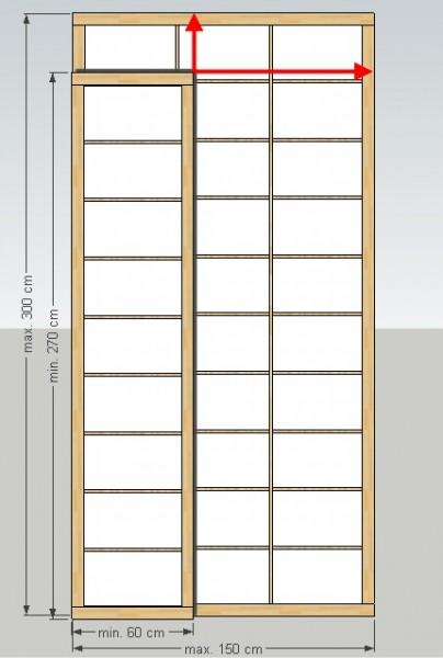 Shoji-Element 'XL', Breite 60-150 x Höhe (Länge) 270-300 cm