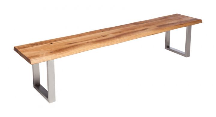 Sitzbank OKU m. Metallgestell, Eiche massiv 4 cm