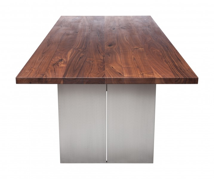 Tisch KURUMI m. Metallgestell, Walnuß massiv