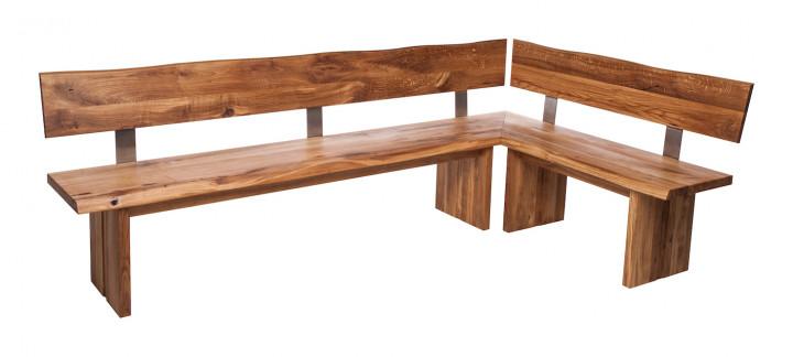 Ecksitzbank OKU mit Rückenlehne u.Holzgestell, Eiche massiv 4 cm