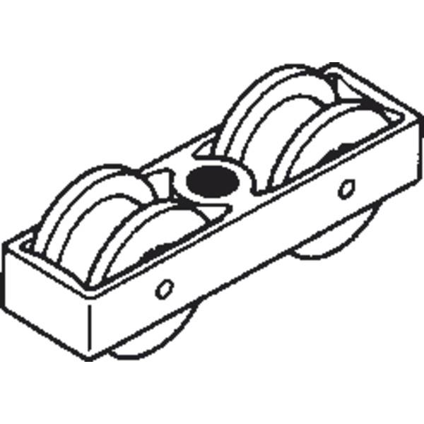 Aluminium-Rollbeschlagset mit Laufwerk und Zweiwegaufhängung