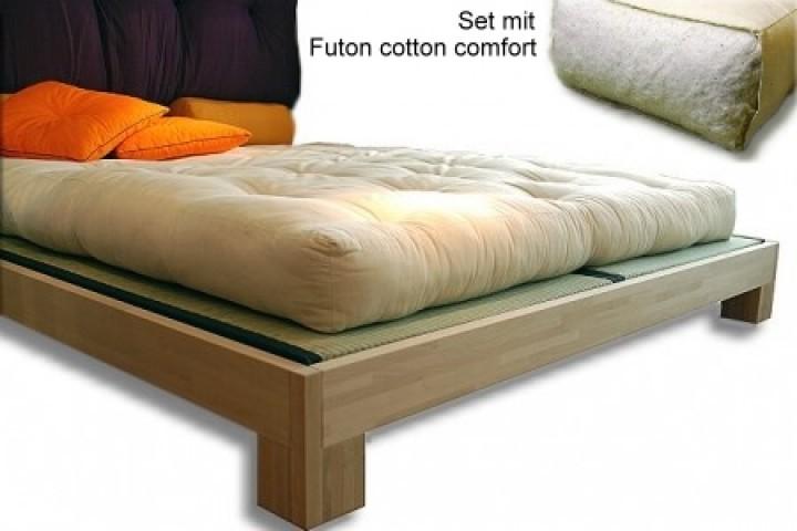 Betten-Set TATAMI inkl. Rolllattenrost, 2 Tatami und Futon cotton comfort