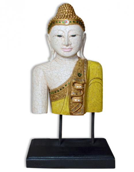 Buddha Büste, handgeschnitzt, Höhe 48/53 cm