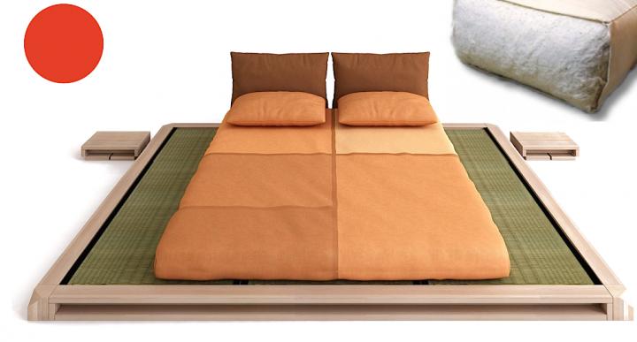 SETANGEBOT Massivholzbett AIKO, inkl. Lattenrost, Tatami und Futon Cotton comfort
