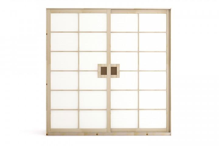 Kleiderschrank SHOJI 200x220 cm mit 2 Schiebetüren, Buche massiv